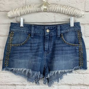 GUESS LOS Angeles Studded Jean Distressed Shorts